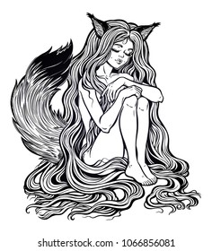 Beautiful Japanese demon fox Kitsune shapeshifter as girl witch with long hair and furry tail. Can be a cat or a squirrel too. Magic woman tattoo art, coloring books. Isolated vector illustration.