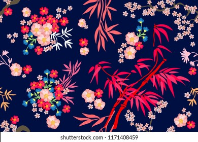 Beautiful Japanese garden. Seamless vector pattern with bambo and flowers inspired by oriental art. On black background.