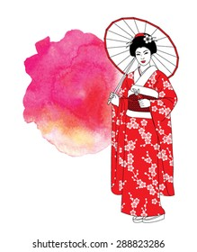 Beautiful japanese girl in kimono and with umbrella on a abstract watercolor red background. Vector illustration.