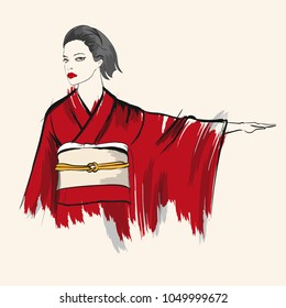 Beautiful japanese girl in kimono. Vector illustration. Fashion & Style. Human. Japan and China. Vector illustration for a postcard or a poster.