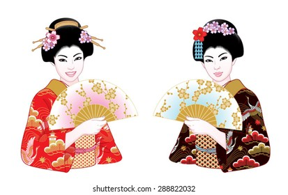 Beautiful japanese girls in kimono and with fans. Vector illustration set.
