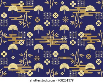 Beautiful japanese seamless  pattern with bamboo  trees, fan  and flowers. Vector seamless asian texture.For printing on packaging, textiles, manufacturing, wallpapers,  gift wrap and scrapbooking.