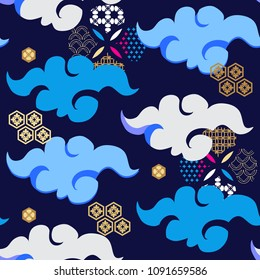 Beautiful japanese seamless  pattern with clouds, waves. Japanese, chinese elements. Vector seamless asian texture.For printing on packaging, textiles, paper, fabric, manufacturing, wallpapers.