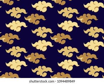 Beautiful japanese seamless  pattern with clouds, waves. Golden foil waves. Japanese, chinese elements. Vector seamless asian texture.For printing on packaging, textiles, paper, fabric, manufacturing,