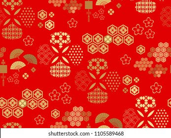 Beautiful japanese seamless  pattern with clouds, waves. Japanese, chinese elements. Vector seamless asian texture.For printing on packaging, textiles, paper, fabric, manufacturing, wallpapers,