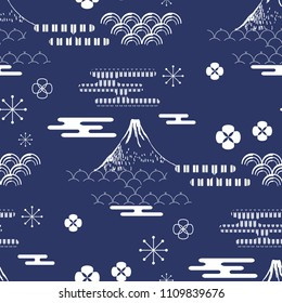 Beautiful japanese seamless  pattern with clouds, mountain, waves.     Japanese, chinese elements. Vector seamless asian texture.   For printing on packaging, textiles, paper, fabric, manufacturing,