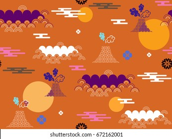 Beautiful japanese seamless  pattern with clouds, Fuji,moon,waves and flowers. Vector seamless asian texture.For printing on packaging, textiles, paper,book covers, manufacturing, wallpapers.