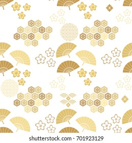 Beautiful japanese seamless  pattern with clouds, waves and flowers. Vector unique seamless asian texture.For printing on packaging, textiles, paper, manufacturing, wallpapers,bags, scrapbooking.