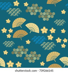 Beautiful japanese seamless  pattern with clouds,fans, waves and flowers. Vector unique seamless asian texture.For printing on packaging, textiles, paper, manufacturing, wallpapers,bags, scrapbooking.