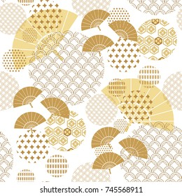 Beautiful japanese seamless  pattern with fans, asian elements and flowers. Vector unique seamless asian texture.For printing on packaging, textiles, manufacturing, wallpapers,bags, scrapbooking.