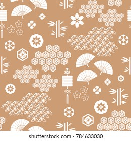Beautiful japanese seamless  pattern with fans, lanterns , asian elements and flowers. Vector unique seamless asian texture.For printing on packaging, textiles, paper,  manufacturing, wallpapers.