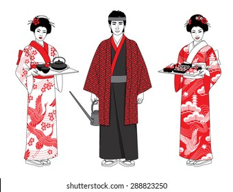 Beautiful japanese waiters in kimono holding trays with sushi and tea. Vector illustration set.