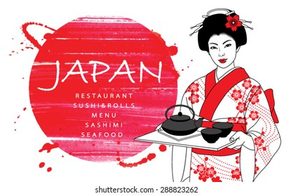 Beautiful japanese waitress in kimono holding tray with tea on a abstract watercolor red background. Vector illustration.
