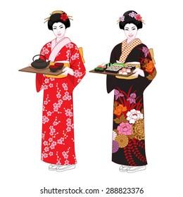 Beautiful japanese waitresses in kimono holding trays with sushi and tea. Vector illustration set.