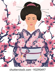 Beautiful japanese woman in kimono (traditional dress),  on pink floral sakura background
