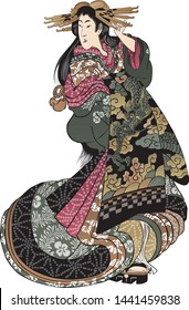 A beautiful Japanese woman wearing a kimono painted with a dragon and raising her left hand