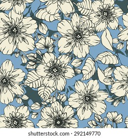 Beautiful jasmine flowers draw the outline - vector seamless pattern