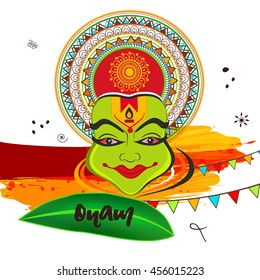 Beautiful Kathakali Dancer face with Floral decorated Crown and Banana Leaf on grungy decorated background for Happy Onam Celebration.