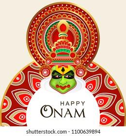 Beautiful Kathakali Dancer Face on Rangoli Wallpaper Design, Happy Onam.