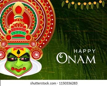 Beautiful Kathakali Dancer Face on Retro Wallpaper for Happy Onam.