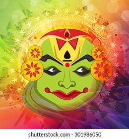 Beautiful Kathakali dancer face on shiny colorful floral design decorated background for South Indian festival, Happy Onam celebration.