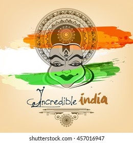 Beautiful Kathakali Dancer face on Grunge Background of Tri-Color with stylish text and Floral Frame on the ocassion of Independence Day.
