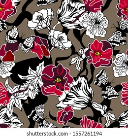 Beautiful kimono pattern. Large poppies, tulips and narcissus on brown background. Oriental textile collection. Floral print with Japanese motifs.