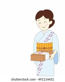 Beautiful kimono woman. the year-end gift. Japanese culture.