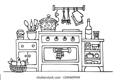 Beautiful kitchen with oven, bottles and jars. Black and white vector for coloring, for card or gift.