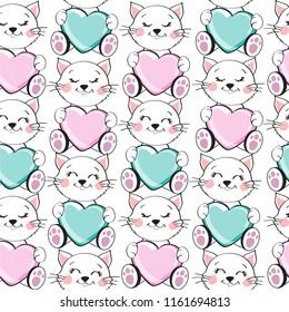 A beautiful kitten holds a heart seamless pattern