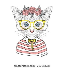 beautiful  kitty girl hipster in glasses and rose garland isolated on white