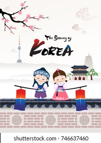 The Beautiful of Korea. A child couple character in Korean traditional hanbok costume welcomes a visit to Korea.