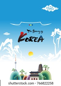Beautiful Korea (Korean mountains, traditional roofs and landmarks, Namsan Tower and palace, Welcome to Korea)