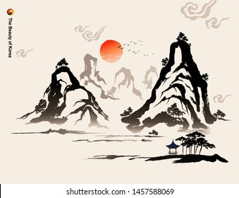 Beautiful Korea, mountains, trees, houses, calligraphy brush painting, natural scenery, Korean traditional painting vector illustration.