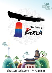 The Beautiful of Korea. Welcome to South Korea travel and landmark, Namsan Tower and Palace, Korea.