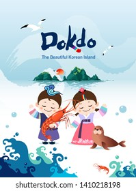 Beautiful Korean island, Dokdo's shrimp and seals. Korean traditional hanbok children couple characters are welcome to visit Korea.