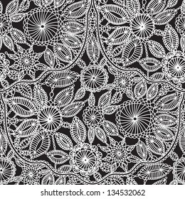 beautiful lace crochet work vector seamless wallpaper pattern background for cards invitations books advertisement magazine textile and interior decoration