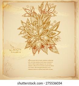 Beautiful lace doodle  batik vector background