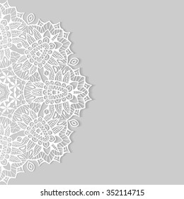 Beautiful lace ornament for Cards or Invitation, Mandala round elements, tribal ethnic arabic indian motif. Abstract floral geometric pattern. Vector illustration