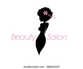 Beautiful lady body profile silhouette and copy space text. Vector beauty and hair salon, fashion store or spa logo. A woman with a curvy figure, an afro hairstyle and pink flower icon.