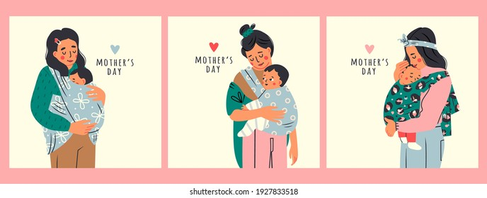 Beautiful Lady is carrying her kid. Newborn Baby child in Sling feeling love and protection from his mother. Family, lifestyle concept. Happy Mother's Day. Set of three Hand drawn Vector illustrations