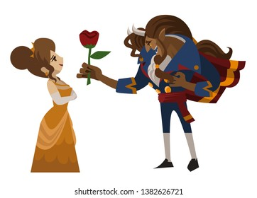 beautiful lady and gentleman beast with a rose