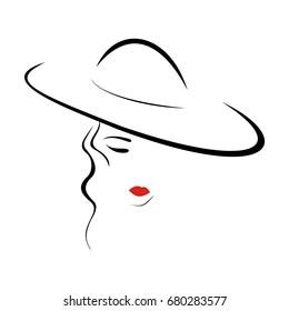A beautiful lady in hat. Contour image. Fashion salon logo. Vector illustration.