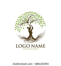 Beautiful lady tree logo template