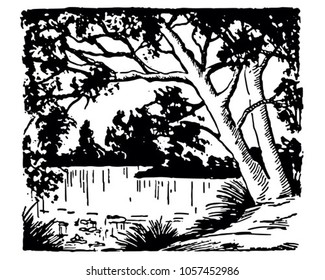Beautiful Lake - Retro Clip Art Illustration