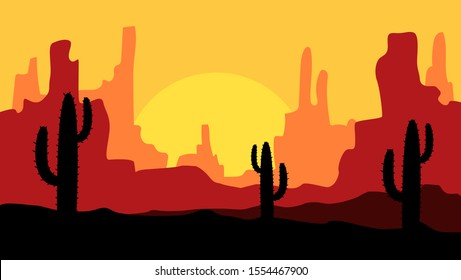 beautiful landscape of desert landscape with cactus mountains, abstract desert background vector illustration template suitable for landing page banner magazin poster