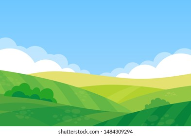 Beautiful landscape of farm field - Vector illustration of a rural summer meadow on a sunny day in flat cartoon style.