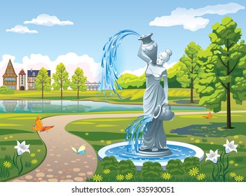Beautiful landscape with a fountain Girl with a jug