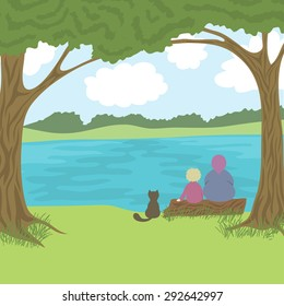 Beautiful landscape with grandmother, grandson and cat sitting on log and admire a nature, coast, trees, river, hills, sky with clouds, vector illustration