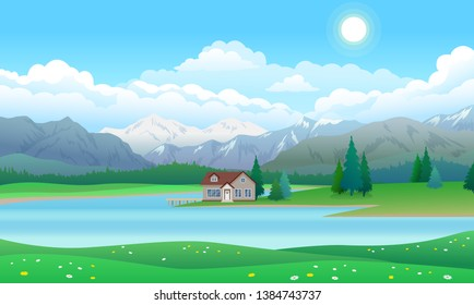 Beautiful landscape with house with pier on lake, forest with pine trees and mountains, blue sky with clouds and sun, vector illustration flat style